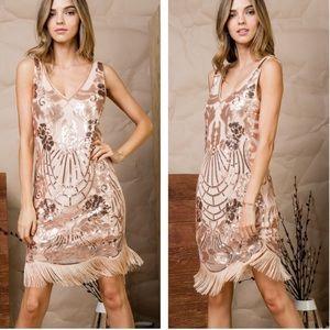 Dresses & Skirts - Rose Gold Sequins Dress With Fringe Detail